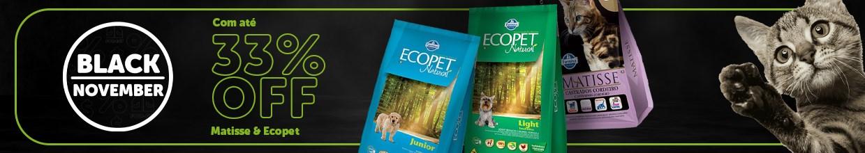 Black friday de rações Matisse e Ecopet para cachorro e gato na Black November daPoli-Pet. Os principais produtos pet em promoção.
