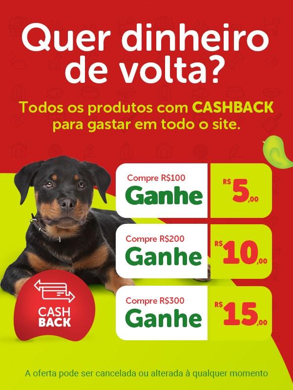 Ganhe dinheiro de volta Cashback nas compras de produtos para gato e cachorro