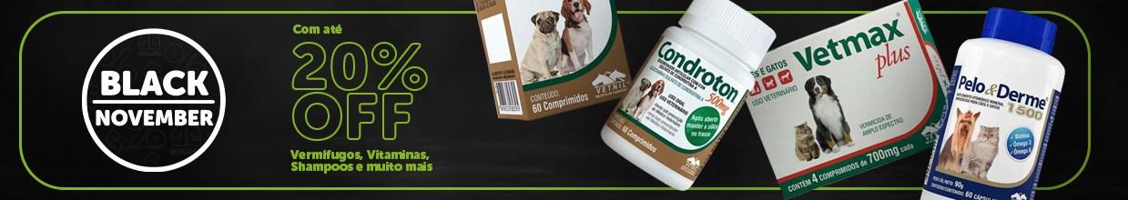 Black friday de Farmácia e medicamentos para cachorro e gato na Black November daPoli-Pet. Os principais produtos pet em promoção.