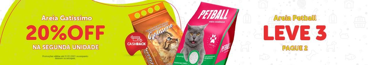 Promoção areia Petball e areia Gatíssimo para gato