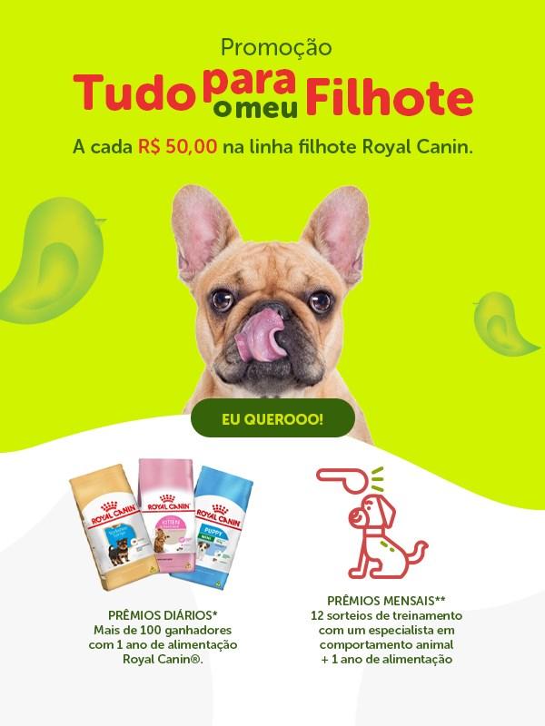 Concorra a premiações incríveis a cada compra de R$ 50,00 em produtos da linha filhotes Royal Canin