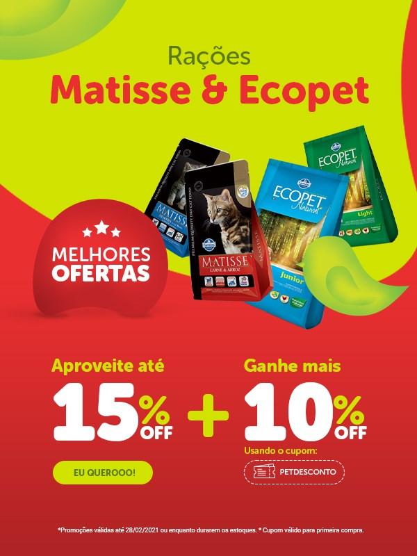 Promoção ração Ecopet & Matisse para cachorro e gato