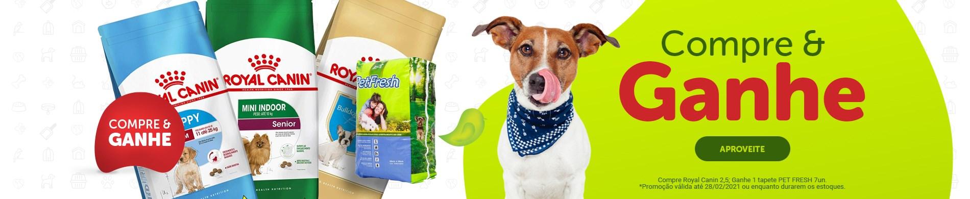 Promoção compre Royal Canin para cachorro de 2,5kg ganhe tapete Pet Fresh