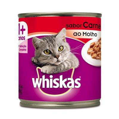 Alimento Úmido Whiskas Lata para Gatos Adultos Carne ao Molho 290gr