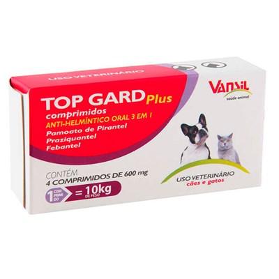 Anti-Helmíntico Top Guard Plus 600mg para Cães e Gatos com 4 comprimidos