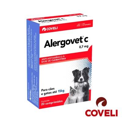 Anti inflamatório Alergovet C para Cachorros e Gatos 0,7Mg 20 Comprimidos