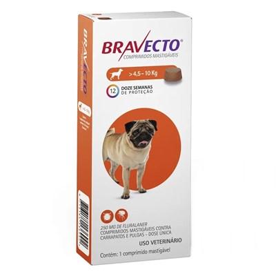 Antipulgas e Carrapatos Bravecto para Cães de 4,5 a 10kg 250Mg