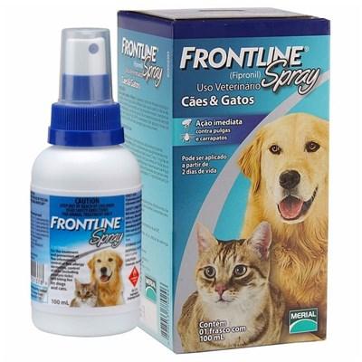 Antipulgas e Carrapatos Spray Frontline para Cães e Gatos 100ml
