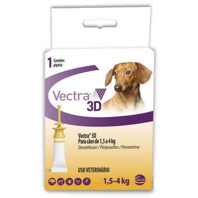 Antipulgas e Carrapatos Vectra de 1,5kg a 4kg para Cães 1Un