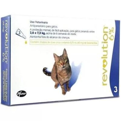 Antipulgas Revolution Azul para Gatos de 2,6 a 7,5kg 3Un