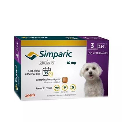 Antipulgas Simparic Tab 10mg com 3 Comprimidos para Cães de 2,5 a 5kg 3Un