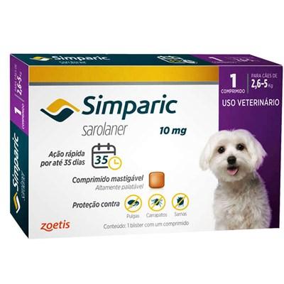 Antipulgas Simparic Tab 10mg para Cães de 2,5 a 5kg 1Un