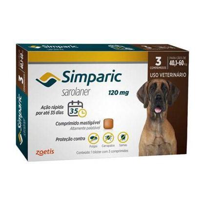 Antipulgas Simparic Tab 120mg com 3 Comprimidos para Cães de 40 a 60kg 3Un