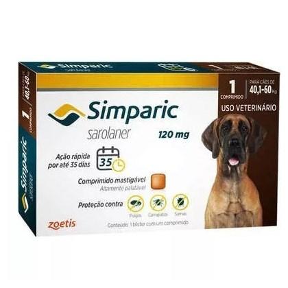 Antipulgas Simparic Tab 120mg para Cães de 40 a 60kg 1Un