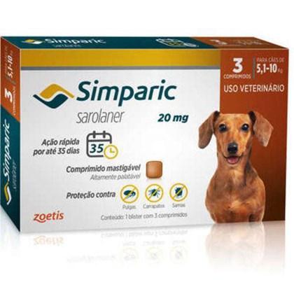 Antipulgas Simparic Tab 20mg com 3 Comprimidos para Cães de 5 a 10kg 3Un