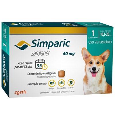 Antipulgas Simparic Tab 40mg para Cães de 10 a 20kg 1Un