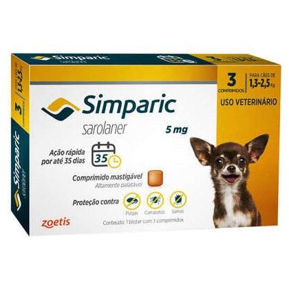 Antipulgas Simparic Tab 5mg com 3 Comprimidos para Cães de 1 a 2,5kg 3Un