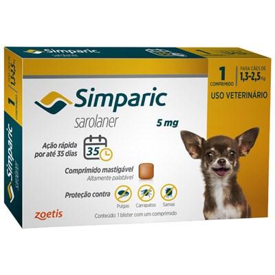 Antipulgas Simparic Tab 5mg para Cães de 1 a 2,5kg 1Un