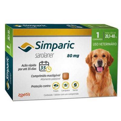 Antipulgas Simparic Tab 80mg para Cães de 20 a 40kg 1Un