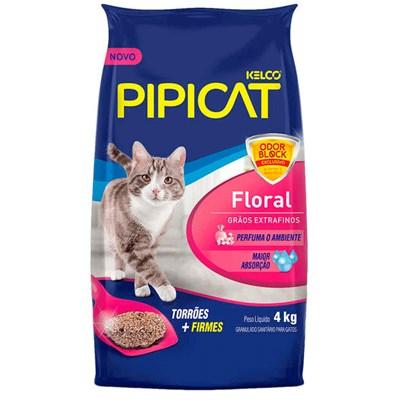 Areia para Gatos Pipicat Floral Grãos Extra Finos 4kg