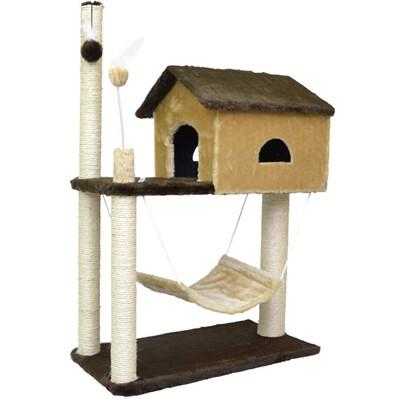 Arranhador São Pet House de Pelúcia Marrom e Bege