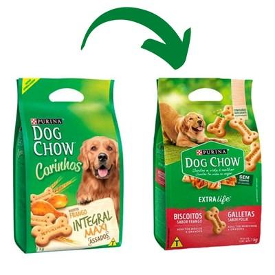 Biscoito Integral Maxi Purina Dog Chow Extra Life para cachorros adultos médios e grandes sabor frango 1kg