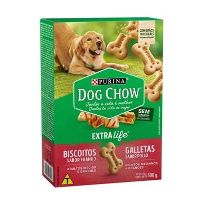 Biscoito Integral Maxi Purina Dog Chow Extra Life para cachorros adultos médios e grandes sabor frango 500g