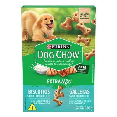 Biscoito Integral Purina Dog Chow Júnior para cachorros filhotes todos os tamanhos sabor frango e leite 300g