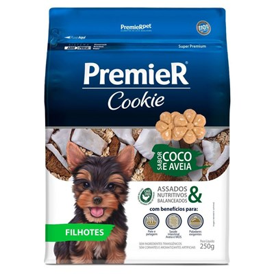 Biscoito PremieR Cookie cachorros filhotes coco e aveia 250gr