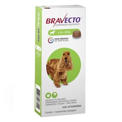 Bravecto antipulgas e carrapatos comprimido mastigáveis para cachorro 10 - 20kg