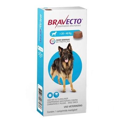 Bravecto antipulgas e carrapatos comprimido mastigáveis para cachorro 20 - 40kg