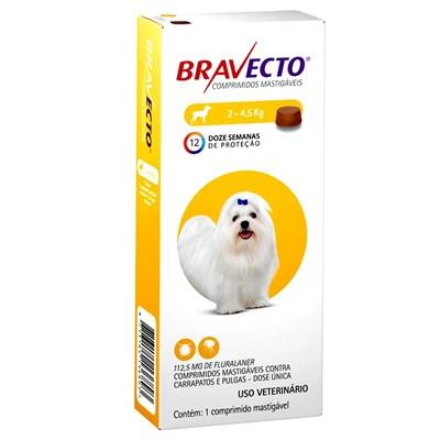 Bravecto antipulgas e carrapatos comprimido mastigáveis para cachorros 2 - 4,5kg