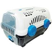 Caixa de Transporte Furacão Pet Luxo Branca e Azul N02