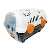 Caixa de Transporte Furacão Pet Luxo Branca e Laranja
