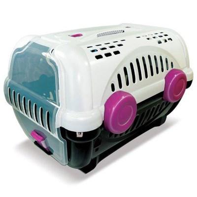 Caixa de Transporte Furacão Pet Luxo Branca e Rosa N01