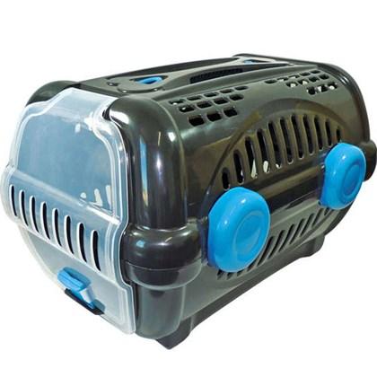 Caixa de Transporte Furacão Pet Luxo Preta e Azul N01