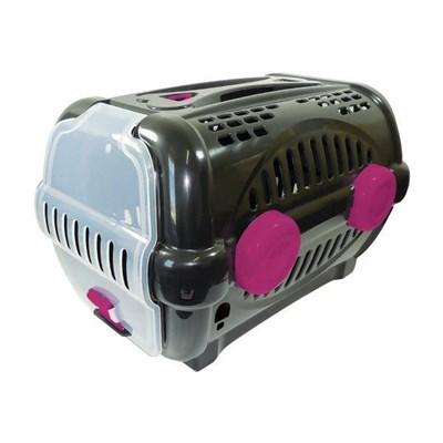 Caixa de Transporte Furacão Pet Luxo Preta e Rosa N01