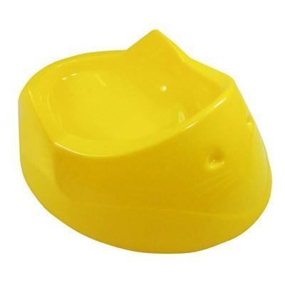 Comedouro Plástico Furacão Pet Cara do Gato Amarela