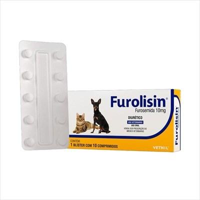 Diurético Furolisin 10mg para Cães e Gatos com 10 Comprimidos