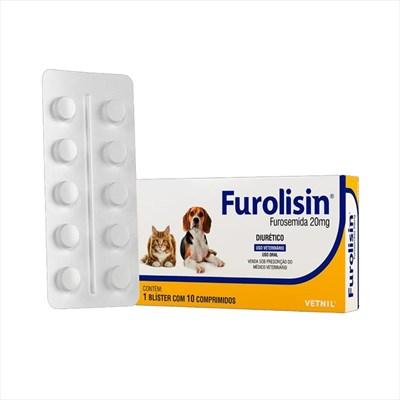 Diurético Furolisin 20mg para Cães e Gatos com 10 Comprimidos