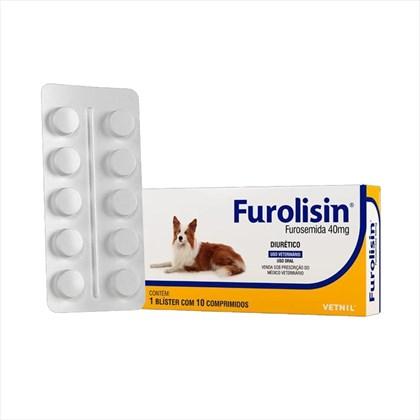 Diurético Furolisin 40mg para Cães e Gatos com 10 Comprimidos