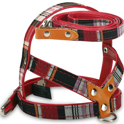 Guia e Peitoral AMF Xadrez para Cães Vermelho N01