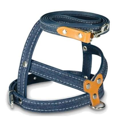Guia e Peitoral Jeans Escuro para Cães AMF N5