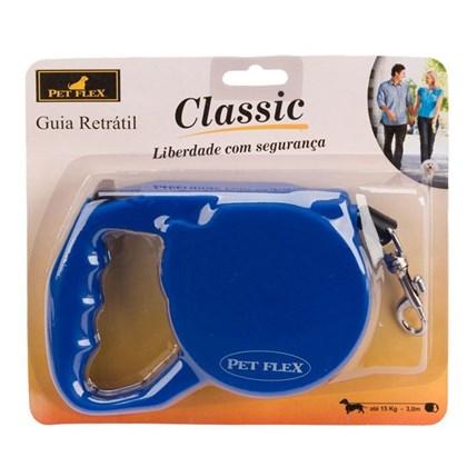 Guia Retrátil Classic 3 Metros para Cães de até 15kg Pet Flex Azul