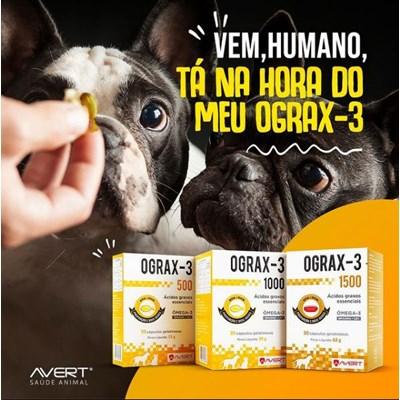 Ograx-3 suplemento para cachorro e gatos 30 cápsulas 500mg