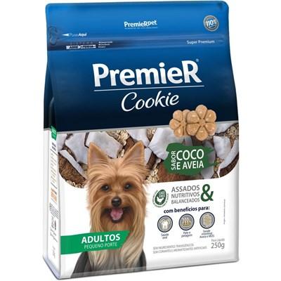 Petisco PremieR Cookie cachorros adultos raças pequenas coco e aveia 250gr