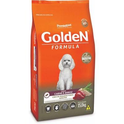 Ração GoldeN Formula para Cães Adultos de Raças Pequenas Carne e Arroz Mini Bits15kg