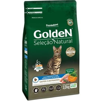 Ração Golden Seleção Natural para Gatos Adultos Castrados Abóbora 1kg