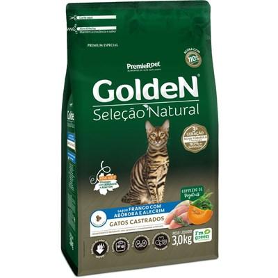 Ração Golden Seleção Natural para Gatos Adultos Castrados Abóbora 3kg