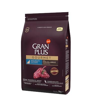 Ração Granplus Gourmet para Gatos Adultos Castrados Ovelha e Arroz 3kg